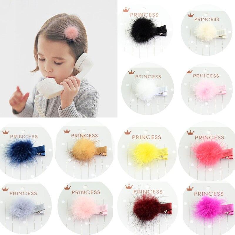 2018 New 2PCS/Lot Korean Kids Hair Clips Hair Accessories Girls Baby Hair Pins Boutique mink hair Children   Headwear