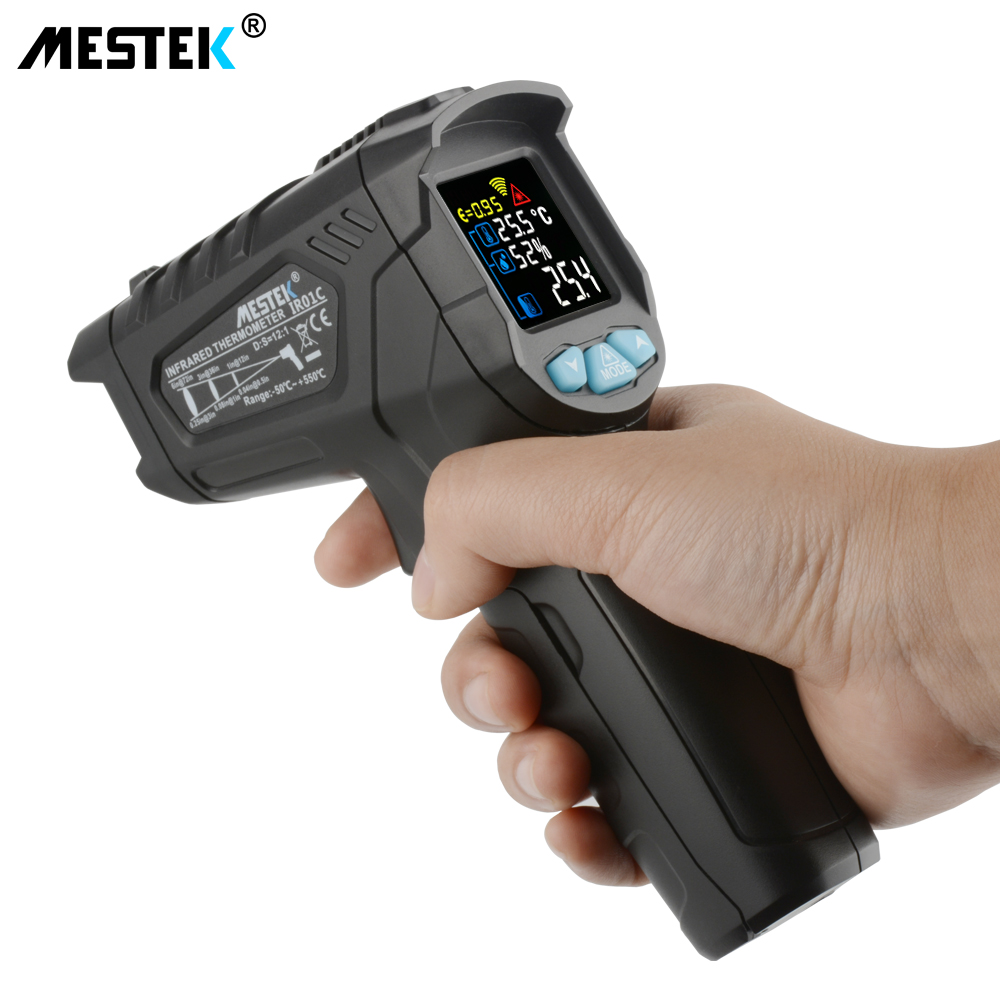 цены MESTEK -50~550C Infrared Thermometer IR01C Digital Humidity Meter Hygrometer 12 Point Temperature Test Area IR Laser Thermometer