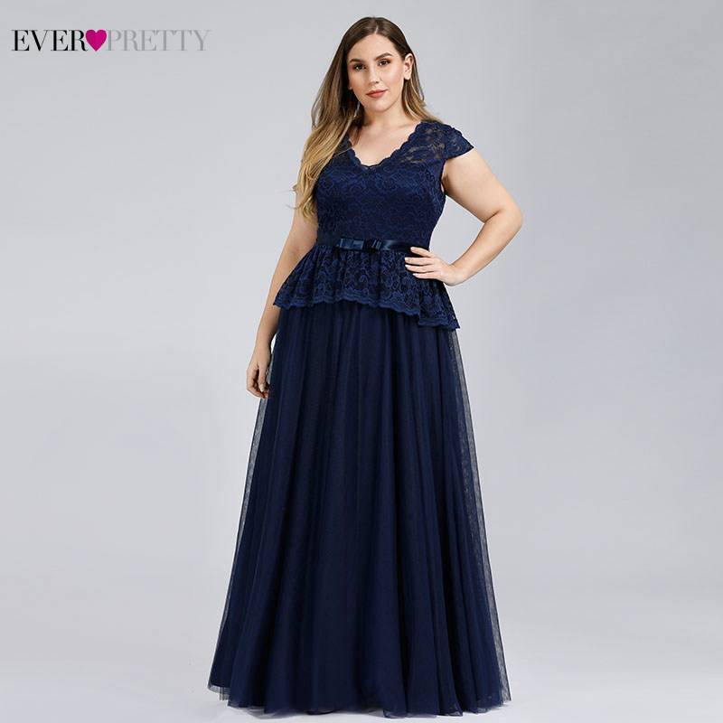 Plus Size Mother Of The Bride Dresses Ever Pretty EP00992NB Kurti A-Line V-Neck Navy Blue Lace Dinner Gowns Vestido De Madrinha