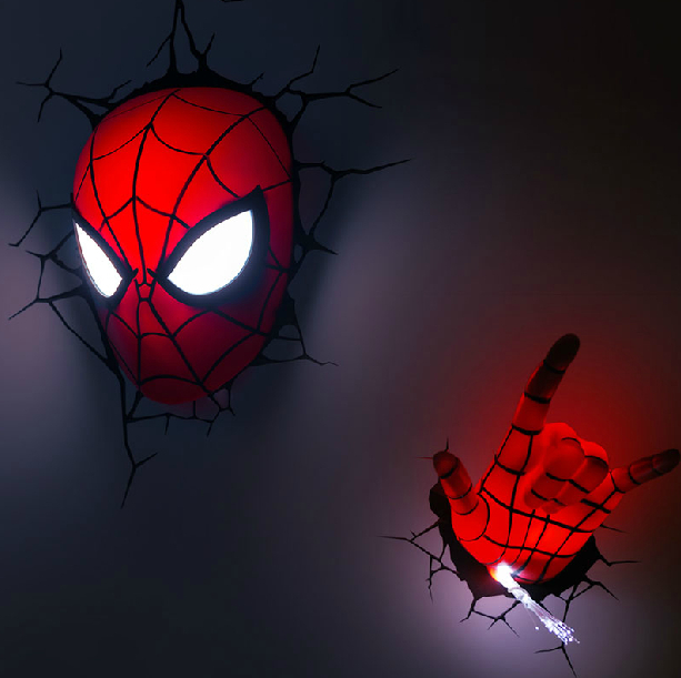 Avengers Series 2015 Creative Spider Man A Set Novelty 3D Wall Lamps Bedroom  Toy Cool