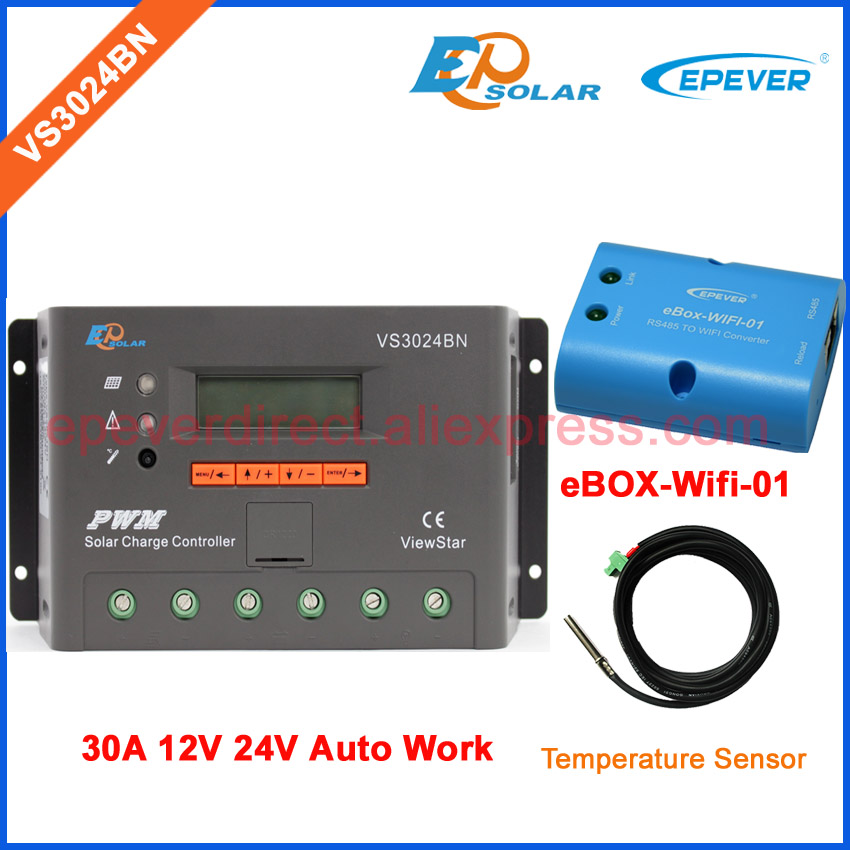 30A 12V 24V Auto work PWM Solar Charge Controller with LCD Display Wifi BOX and Temp sensor Solar Cell Regulator VS3024BN 24v 30amp epsolar epever new series solar controller vs3024bn charger lcd display 30a 12v 24v auto work