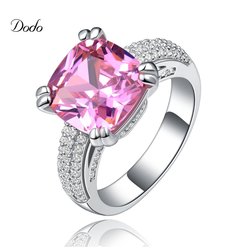 Vintage White Gold Plated Jewelry Pink Aaa Cz Diamond Wedding Rings For  Women Romantic Engagement Rings
