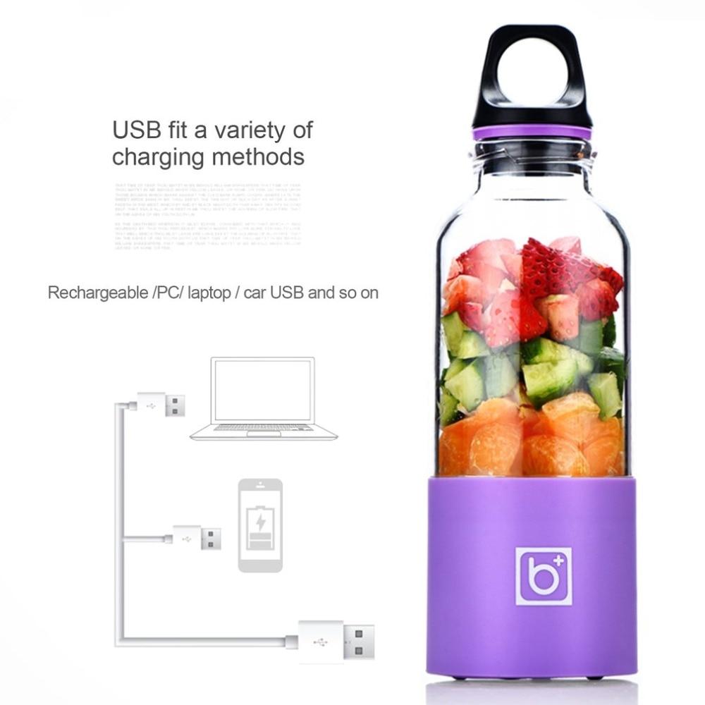 500ml Mini Portable USB Rechargeable Juicer Blender Maker Shaker Squeezers