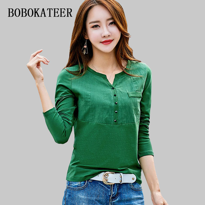 BOBOKATEER slim white plus casual size cotton t shirt haut women V-neck t shirts women 2018 summer t-shirts funny t shirts