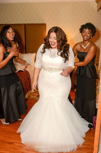 Image 3 - Plus Size Mermaid Wedding Dresses With Sashes Beaded Sheer Scoop Neck half sleeve Appliqued Backless Bridal Gowns Custom Made