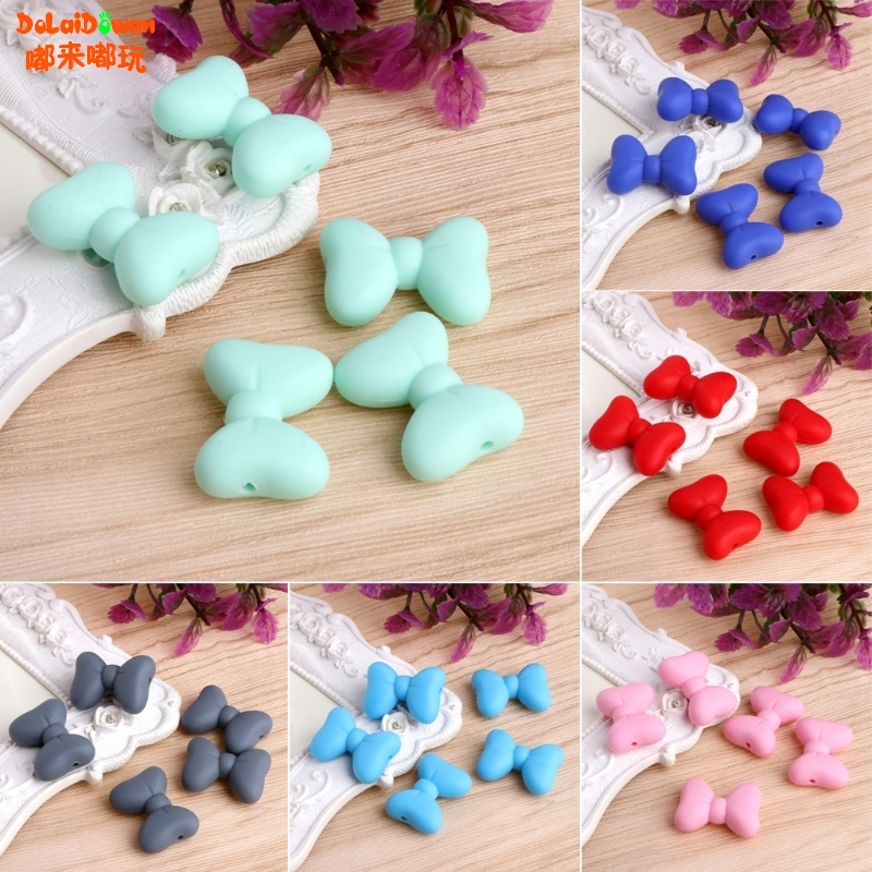 5Pcs Multicolor Bow Tie Shaped Silicone Beads BPA Free Food Grade Creative Baby Chewed Beads DIY Necklace Or Bracelet