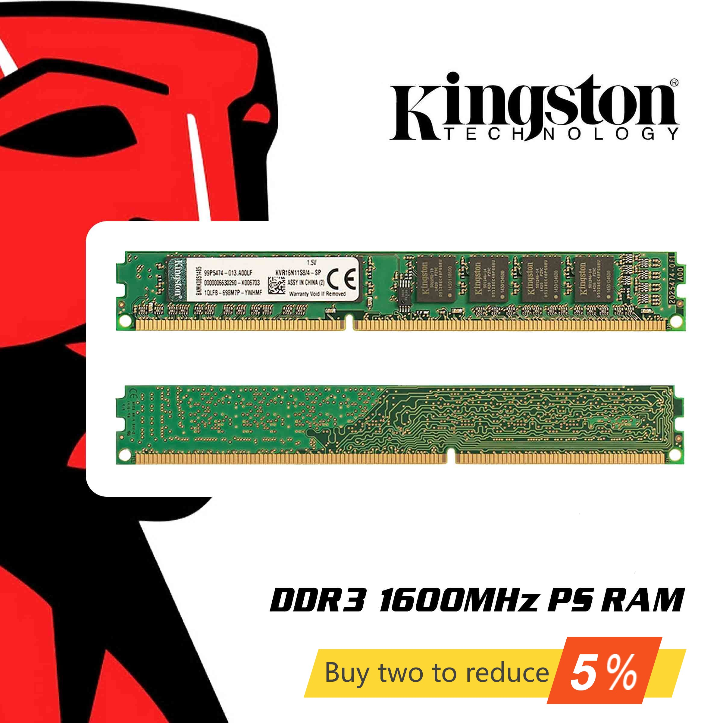 Original Kingston <font><b>RAM</b></font> Memory <font><b>DDR3</b></font> 1600MHZ 4GB 8GB <font><b>Memoria</b></font> <font><b>RAMs</b></font> <font><b>1600</b></font> <font><b>MHz</b></font> 8 Gigabytes Gigs Stick for Desktop Laptop PC Notebook image