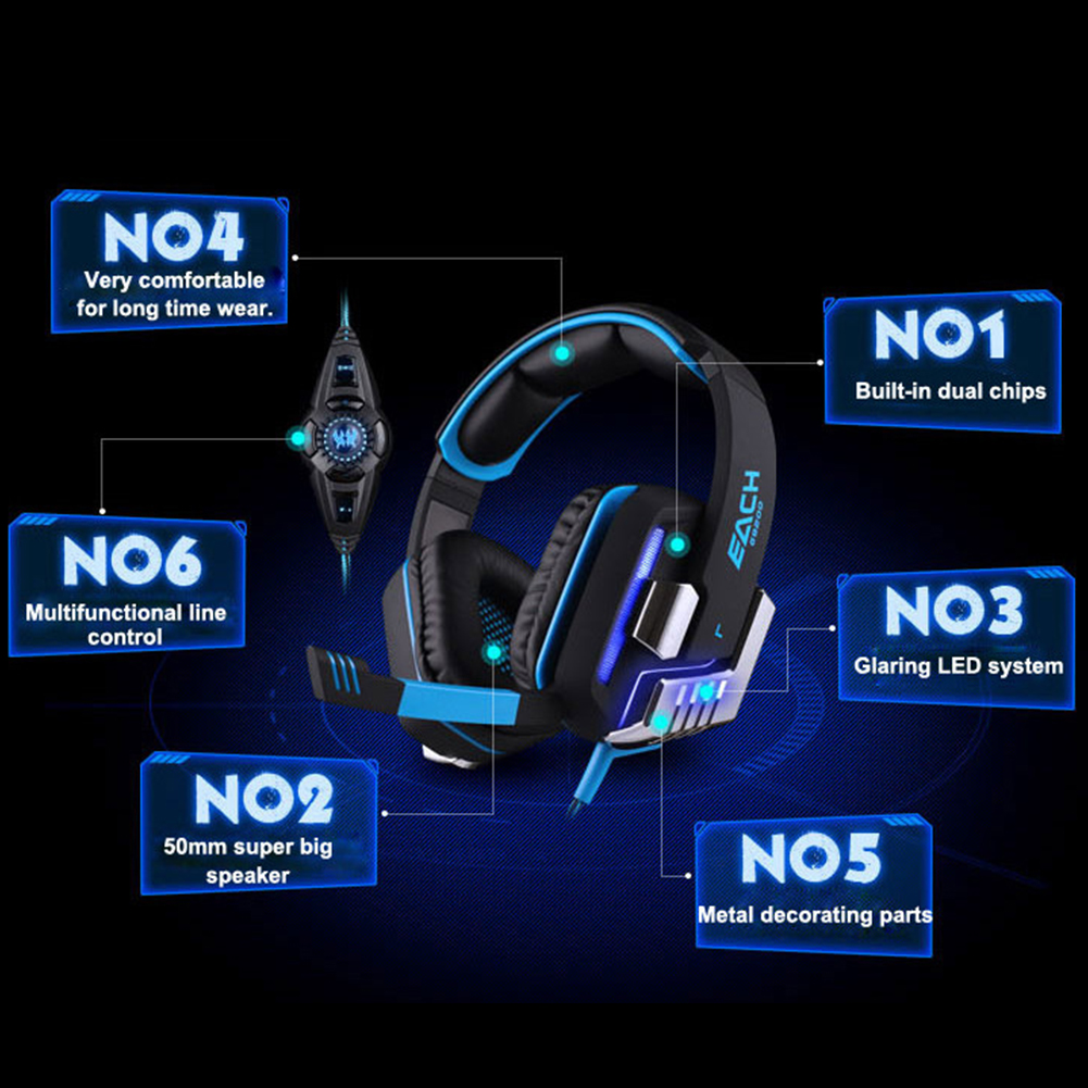 DELUXE KOTION EACH G8200 Gaming Headphone Gaming Gaming Headphone Each G8200 LED Earphone+Retractable Mic Surround Shock Bass