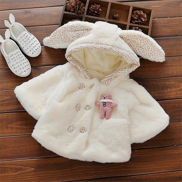 Alta qualidade do bebê da menina casacos de moda da pele do falso orelha longa casacos com capuz para o inverno roupas de bebê macio e confortável
