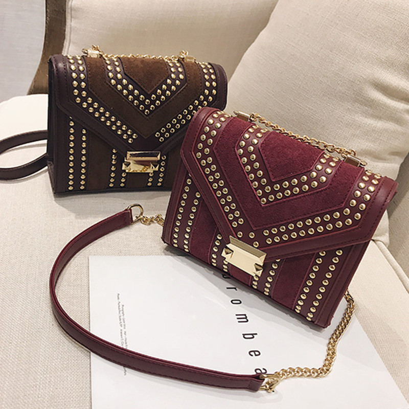Autumn INS Style Frosted Rivet Small Square Bag Female New Chain Shoulder Female Bag Fashion Small Bag Shoulder Messenger Bag 2017 new national wind aslant handbag embroidered flowers small square bag rivet shoulder bag