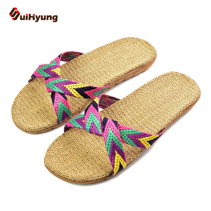 Suihyung Summer New Ladies Slippers Comfortable Linen Home Indoor Shoes Women Hit Color EVA Sole Non-slip Beach Slippers, free shipping candy color women garden shoes breathable women beach shoes hsa21