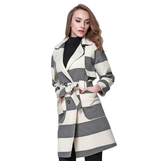 Женщин Кашемировый Пиджак Лацкане женщин Длинные Шерстяные Пальто Сплайсинга Дамы Outerwears Зимние Женские Пальто Пыли Дамы Куртка 2017 F1804