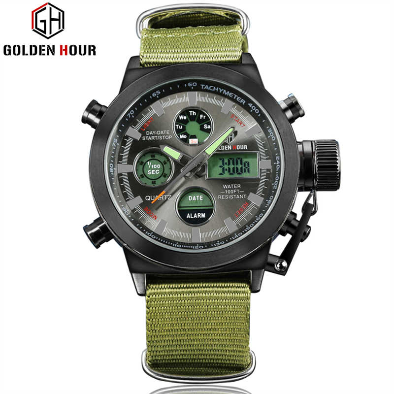 GOLDEN HOUR Top Brand Luxury Sport Miliatary LED Digital Mens Watches Army Green Nylon Strap Quartz Watch Men Relogios Masculino