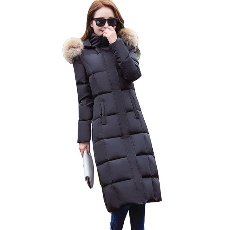 Overcoat Plus Size women whiter duck   down     coats   2017 Fashion Thick Warm Winter long Jacket hooded fur collar   Down   Parkas QH0923