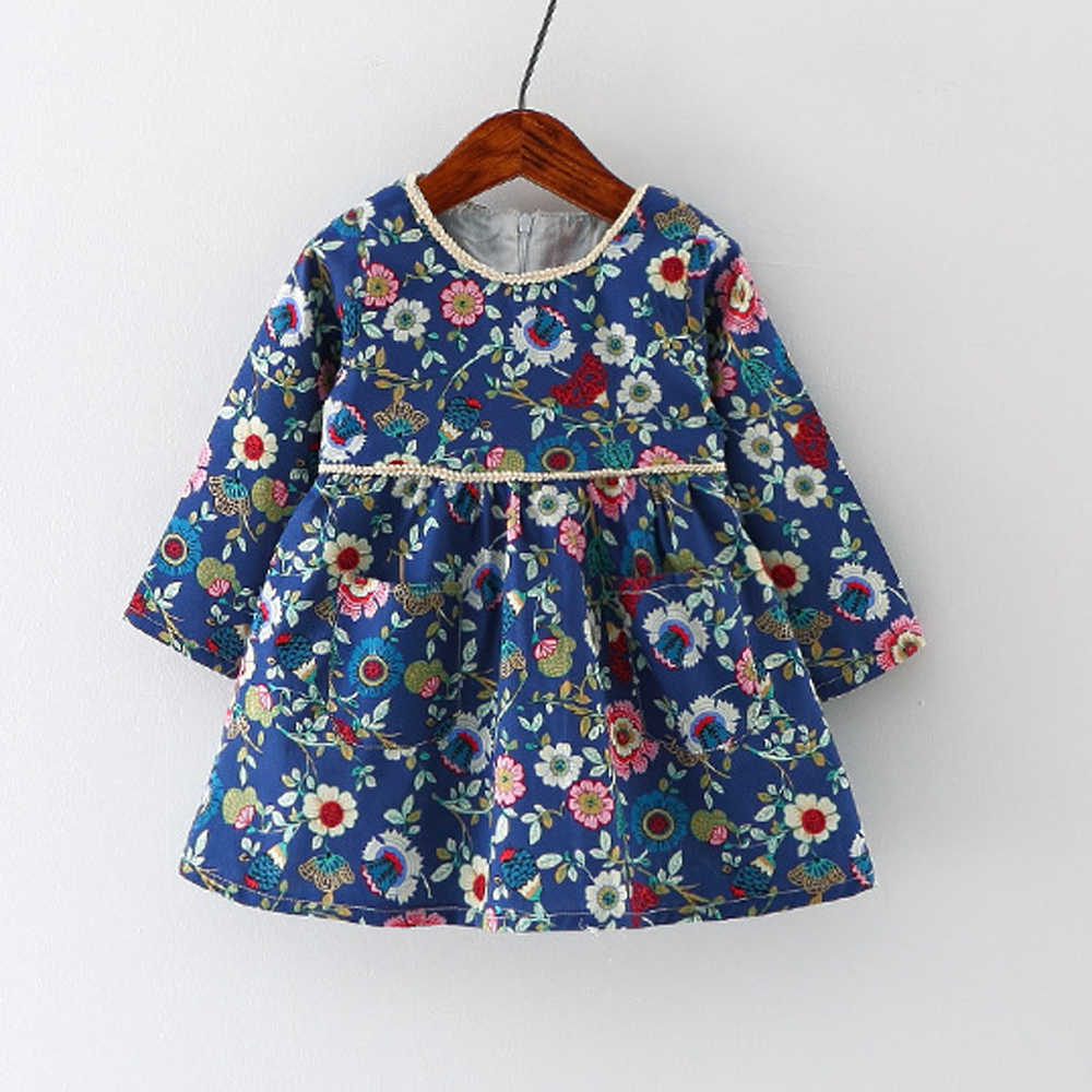 76b3708f568c Navy Floral Baby Dress Baby Girls Clothes Toddler Dress Long Sleeve ...