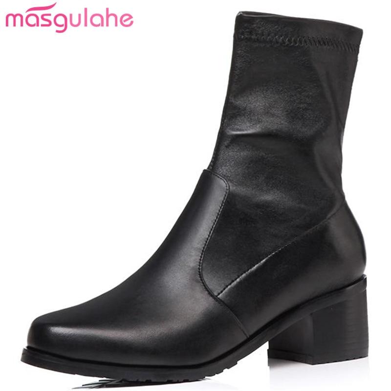Masgulahe En Oficina Otoño Botines Señora Genuino 2 1 Gruesos black Zapatos Cuero Concise Botas Mujeres Deslizamiento Punta Black Encanto Redonda zAXwFxnXr