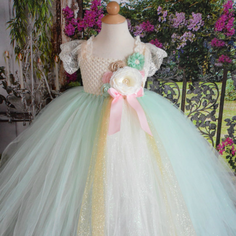 Vintage Mint Gold Flower Girl Dress Mint and Ivory Flowers Embellished Pearl Rhinestones Flower Baby Girl Tutu Dress for Wedding chic flower shape and sequins embellished newsboy hat for women
