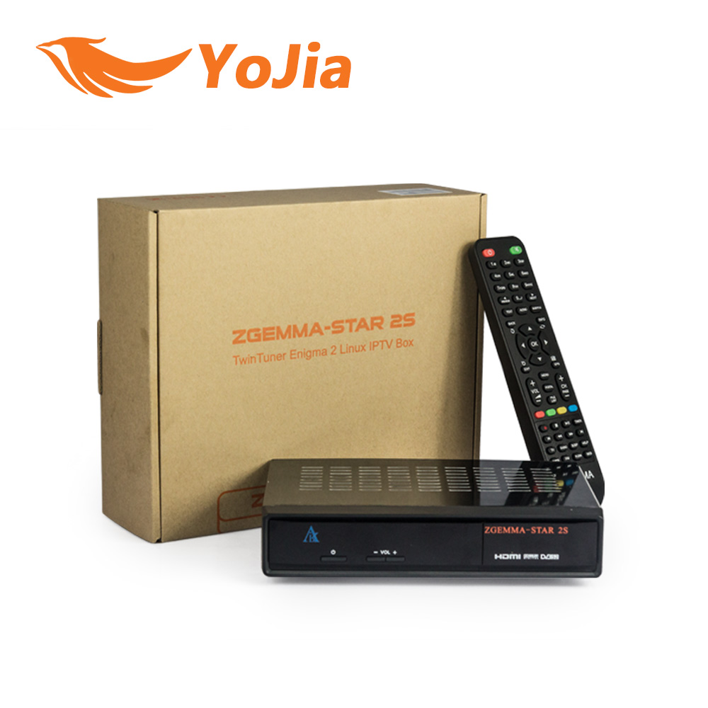 1pc Original Zgemma Star 2S Digital Satellite Receiver with Two DVB-S2 Tuner Enigma2 Linux System Zgemma-star 2S dvb s standalone digital satellite receiver with lan port rs232 yprpb cvbs spdif