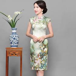 2019 Новое зеленое Короткое женское платье Чонсам с цветочным принтом, винтажное шелковое Qipao, воротник-стойка, элегантное китайское платье