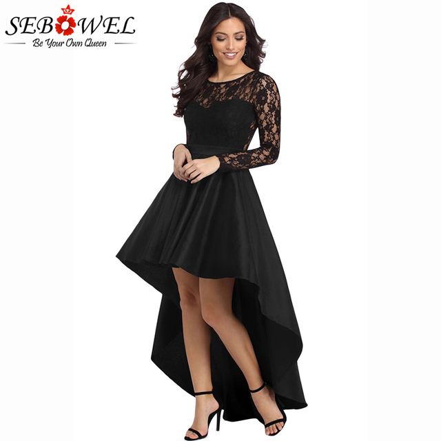 5d34cbd6c8e6 SEBOWEL New Sexy Black Lace High Low Satin Party Dress Women 2018 Formal  Long Sleeve Floor-Length Dresses Female Vestidos S-XL