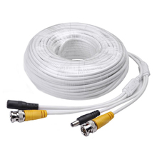 Wholesale 100ft Video Power Cables BNC RCA Security Camera Extension White Wires Cords for CCTV DVR Surveillance System