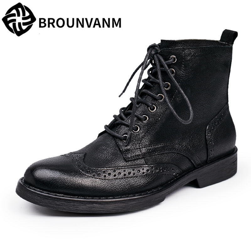 2017 men autumn and winter Bullock ,Leather black boots, casual high shoes  boots, medium cylinder
