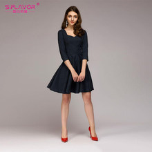 S.FLAVOR 2019 New Spring Summer A-line Dress Fashion V-neck Three Quarter Sleeve Elegant Vestidos Party dress Solid Color dress(China)