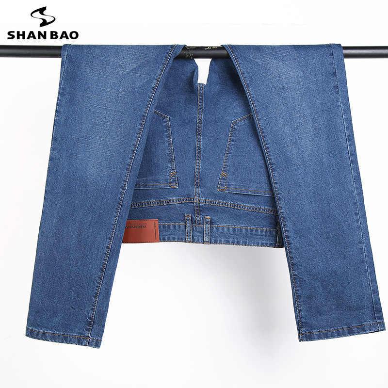 SHANBAO мужские джинсы задние карманы на молнии; женские модные брендовые 2019 Весенняя Новинка стиль для бизнес на каждый день Slim стрейч джинсы хлопковые брюки