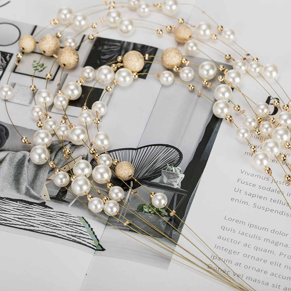 KMVEXO 2019 New Fashion Gold Multi Layer Chains Imitation Pearl Jewelry Sets For Women Party Wedding Bride Necklace Earrings Set