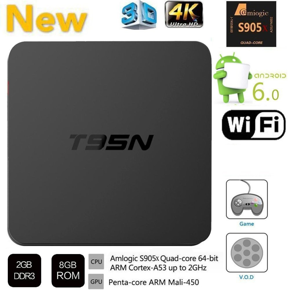 T95N Mini M8S Pro Android TV BOX 2G/ 8G Amlogic S905 Quad core cortex-A53 Android 6.0 Support HDMI 2.4GHZ Wifi Streaming Media newest h8 android 6 0 tv box amlogic s905x quad core cortex a53 2g 8g smart android tv box