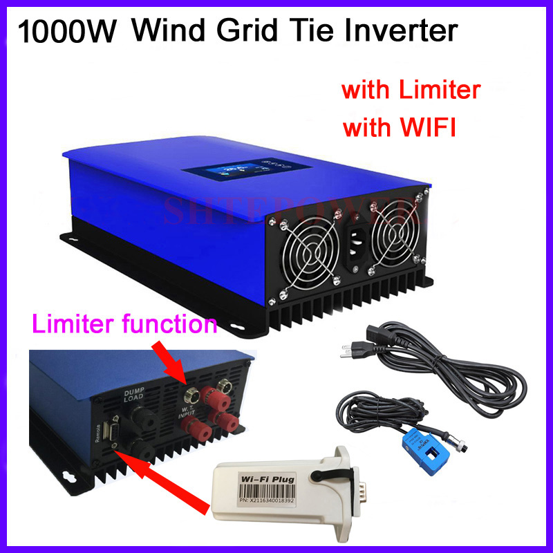 1000w inverter wind grid tie connected 1KW invertor MPPT with wifi plug dump load resistor 22-65v 45-90v 3 phase ac input maylar 2000w wind grid tie inverter pure sine wave for 3 phase 48v ac wind turbine 90 130vac with dump load resistor