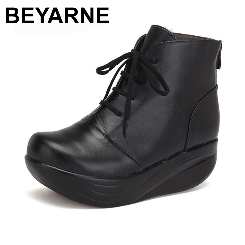 BEYARNE Black Women Boots Lace Up Genuine Leather Winter Shoes Warm Wedges Platform Swing Shoes Big