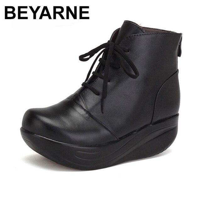 90ff97006d2 BEYARNE Black Women Boots Lace Up Genuine Leather Winter Shoes Warm Wedges  Platform Swing Shoes Big