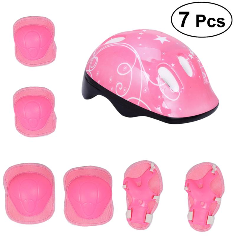 7Pcs Children Elbow Wrist Knee Pads Bicycle Helmet Children Sports Safety Protective Gear Skateboard Skate (Pink)