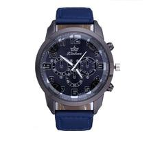 цена 2017 new fashion large dial Europe and the United States men's belt watch three large digital leisure sports quartz men's watch онлайн в 2017 году