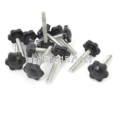 12 Pcs 25mm Dia Star Shaped Head M6 x 40mm Male Thread Clamping Screw Knobs collected stories