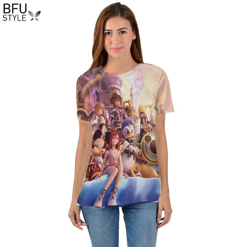 ea30fe9ed Reino corazones 2019 hombres y mujeres 3D camiseta de dibujos animados Mini  Mouse pato ropa cuello redondo T camisa carácter camisas Tops de verano