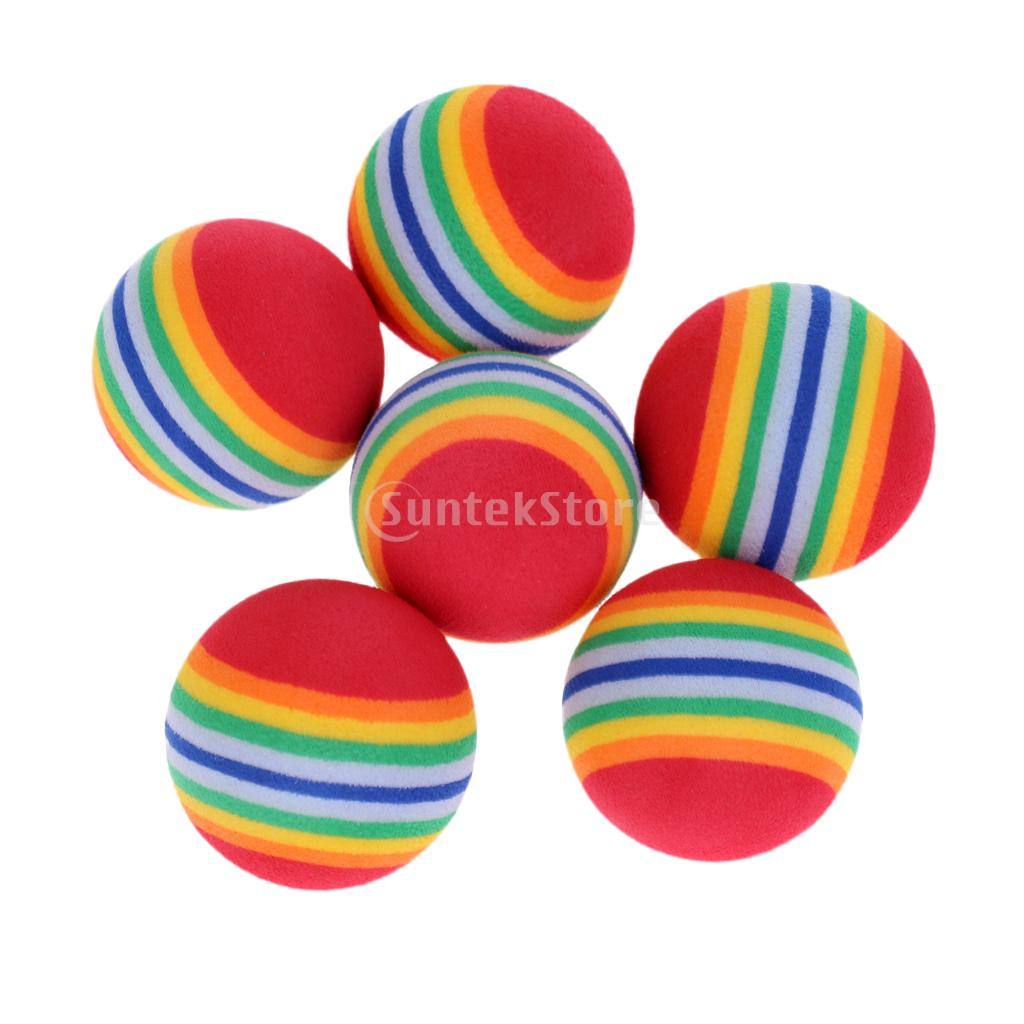 6 Pieces Lightweight Soft Sponge Foam Rainbow Indoor Practice Golf Training Balls Training Aids or Cat Pet Toys