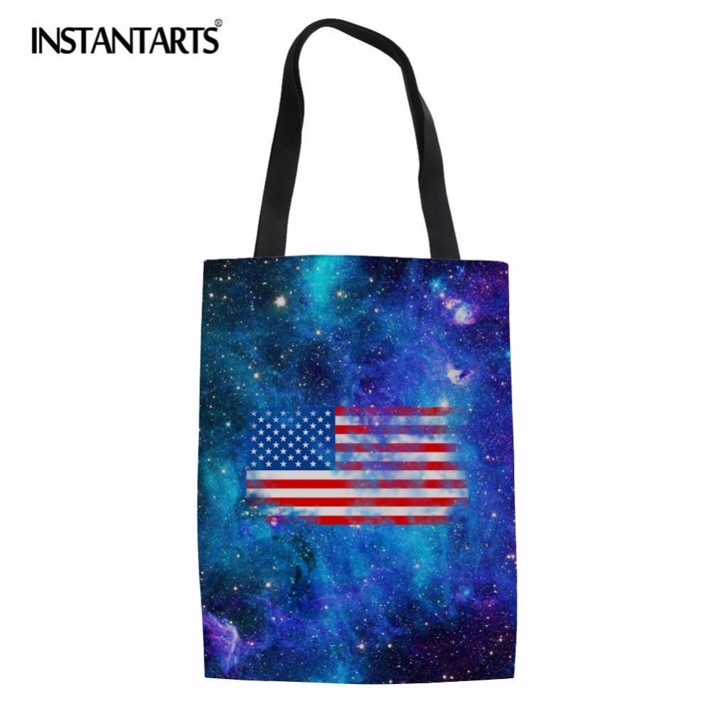 INSTANTARTS 3D Camera Fashion Design Canvas Linen Shopping Bag USA UK Flag Print Woman CanvasShoulder Bag Casual Large Handbags