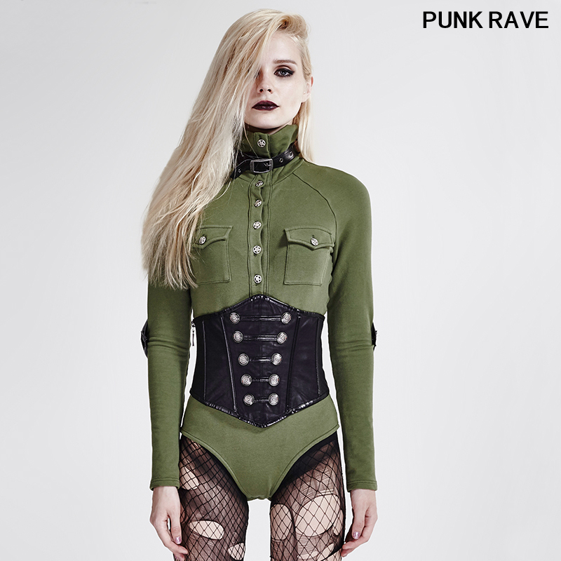 Punk Sexy uniforme Style fête Coslay femmes T-shirt mode armée vert haut col à manches longues femmes Tee hauts PUNK RAVE T-434
