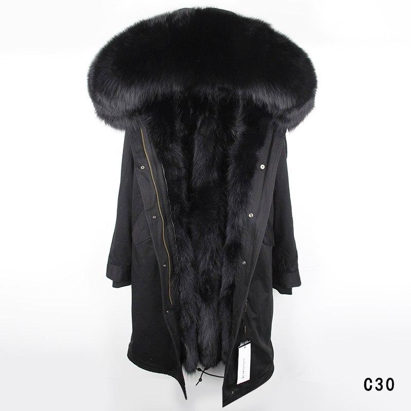 Maomaokong de 2018 nouvelles femmes De Mode réel de fourrure de lapin doublure hiver veste manteau naturel renard col de fourrure à capuchon long parkas outwear