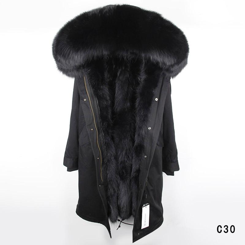 Maomaokong fodera in pelliccia reale del coniglio delle 2018 nuove donne di Modo giacca invernale cappotto naturale pelliccia di volpe collare incappucciato lungo parka outwear