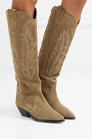 Botines Mujer 2019 Tan Suede Knee High Long Boots Square Chunky Low Heel Punk Biker Winter Shoes Woman Western Cowboy Boots