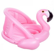 Inflatable Circle Baby Flamingo Float Swimming Ring Sunshade Safety Seat Water Toy