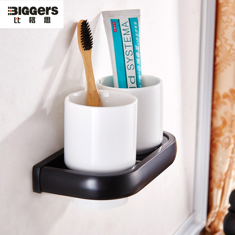 free style bathroom accessories black bronze toothbrush holder double cup tumbler holder 8502b
