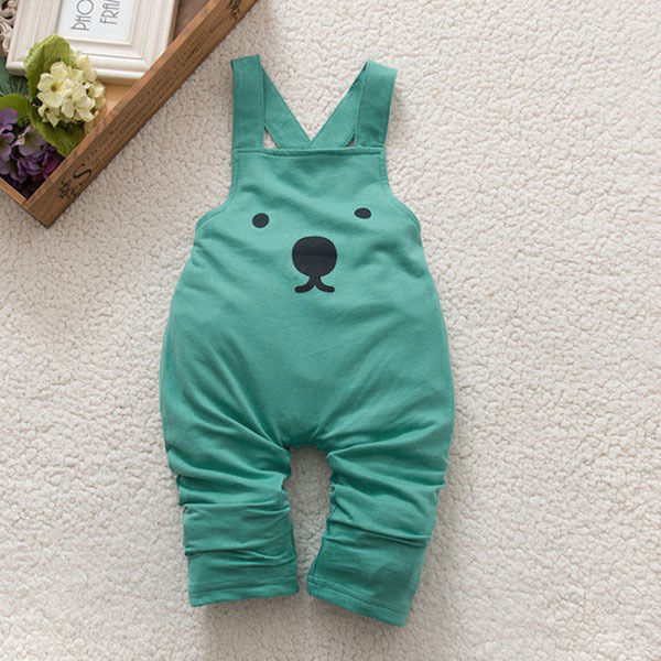 Baby Boy Girls Bib Pants Overalls Bear Print Harem Pants Long Trousers