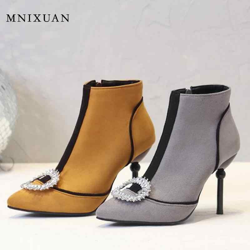 MNIXUAN ฤดูหนาวฤดูใบไม้ร่วงคุณภาพสูง super High รองเท้าส้นสูงรองเท้าผู้หญิงคริสตัล bling lady สั้นซิปรองเท้าขนาด 10
