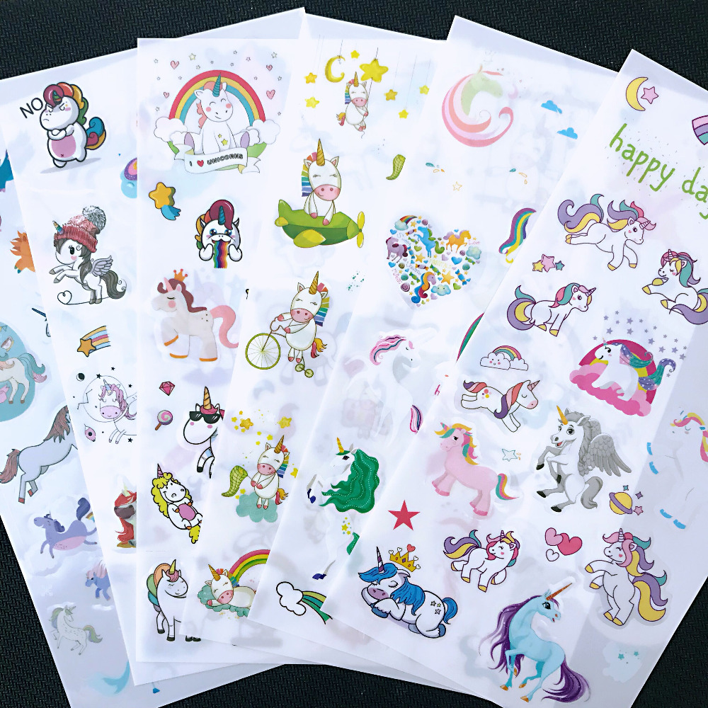 6 Sheets /Pack Kawaii Unicorn Stickers Adhesive Craft Decor Stick Label Phone Notebook Diary Decorative Student Stationery