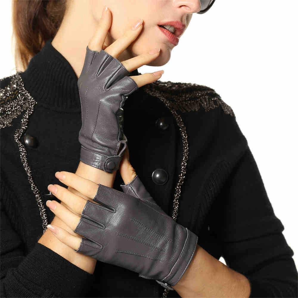 Halvfinger av äkta läder Kvinnor Handskar Enfärgad Mode Casual Elegant Lady Halvfinger Fårskinn Handske L135NN
