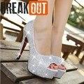 Nova chegada de moda feminina sapatos de strass casamento sapatos de salto alto mulher de cristal banquete sapatos de noiva altura: 11 CM